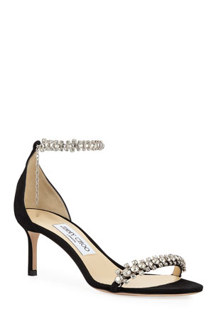 Jimmy Choo Shiloh Mid-Heel Crystal Anklet Sandals