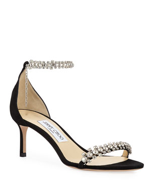 3795ee7f1 Jimmy Choo Shiloh Mid-Heel Crystal Anklet Sandals