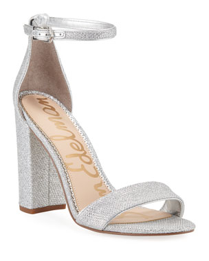 e04fa777c664 Sam Edelman Yaro High-Heel Glittered Mesh Sandals