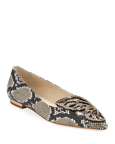 Sophia Webster Flats SNAKE-EMBOSSED LEATHER BUTTERFLY FLATS