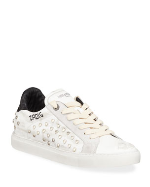 a4133013887a Zadig   Voltaire ZV1747 Distressed Heart-Studded Leather Sneaker