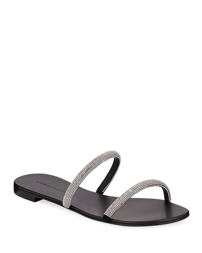 Crystal-Strap Leather Slide Sandals