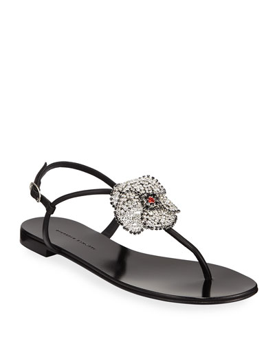 Flat Thong Sandals with Crystal Flower