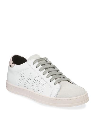 John Low-Top Metallic Leather Sneakers
