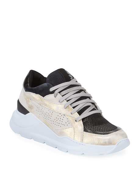 P448 LEIA SHIMMERY WEDGE DAD SNEAKERS