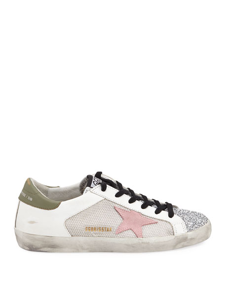Golden Goose Superstar Low-Top Glittered Leather Sneakers
