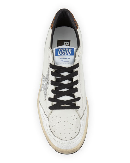 Golden Goose Ball Star Lace-Up Distressed Leather Sneakers