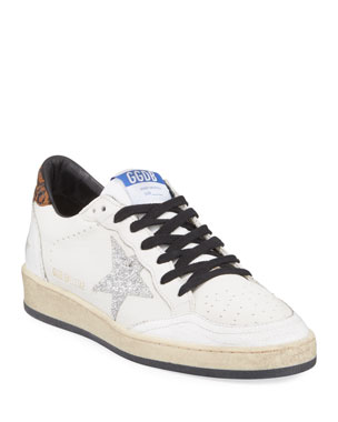 3ff573b30b9c Golden Goose Ball Star Lace-Up Distressed Leather Sneakers