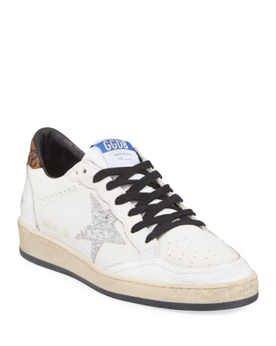 Ball Star Lace-Up Distressed Leather Sneakers
