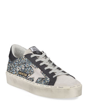 2a50945ef522 Golden Goose Hi Star Glittered Leather Platform Sneakers