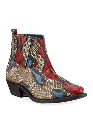 e3136153354f Golden Goose Crosby Snake-Print Western Ankle Boots