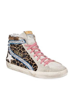d8bef70c7da238 Golden Goose Slide Giraffe-Print Glittered High-Top Sneakers