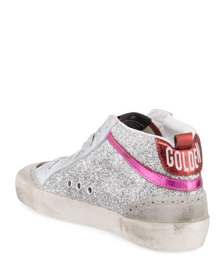 Golden Goose Mid Star Glittered Metallic Leather Sneakers