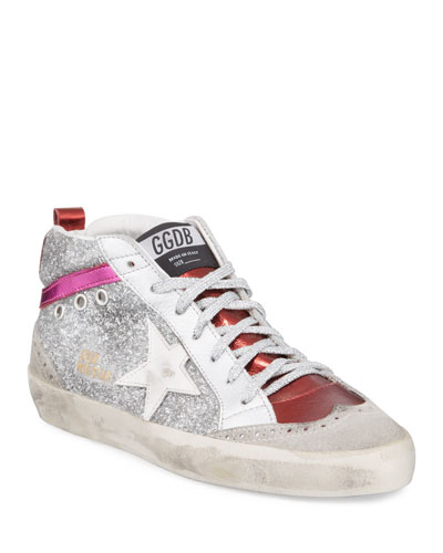 Mid Star Glittered Metallic Leather Sneakers