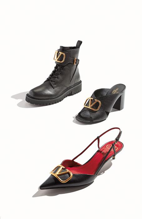 Valentino Garavani VLOGO Leather Mule Sandals