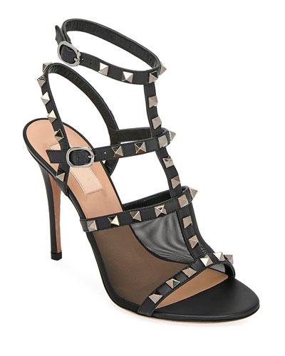 Rockstud Mesh/Leather T-Strap Sandals