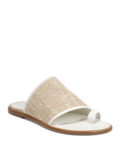 Edan Jute Flat Slide Sandals