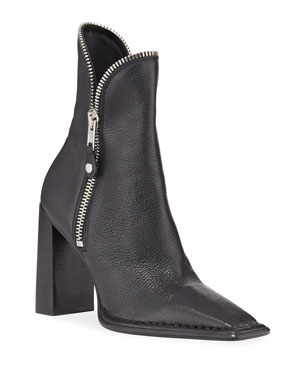 754ae6a6f6f Alexander Wang Lane Block-Heel Leather Zip Booties