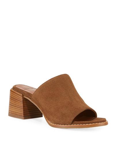 Jane Suede Block-Heel Mule Sandals