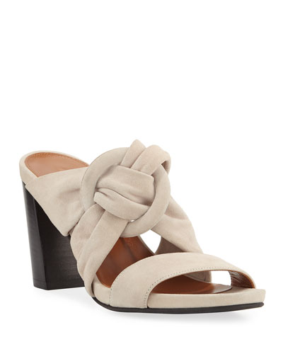 Breanne Knotted Suede Block-Heel Sandals