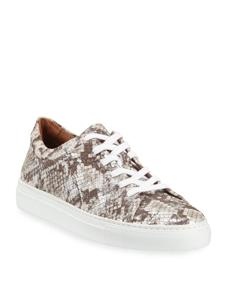 Aquatalia Sneakers AVERY METALLIC SNAKE-EMBOSSED SNEAKERS
