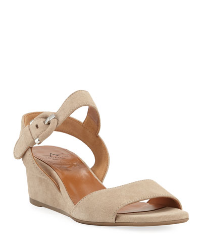 Kylee Demi-Wedge Suede Sandals