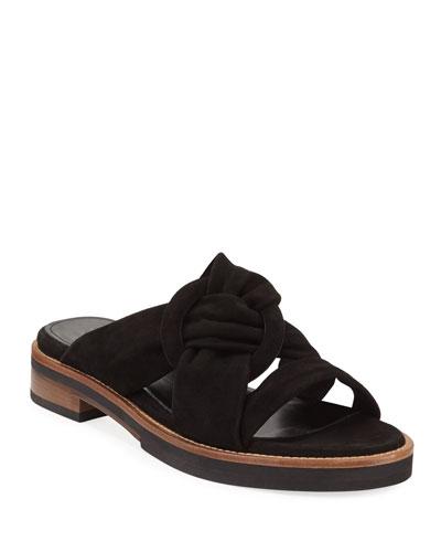 Harley Knotted Suede Slide Sandals