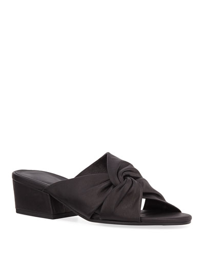 Petula Knotted Leather Low-Heel Sandals