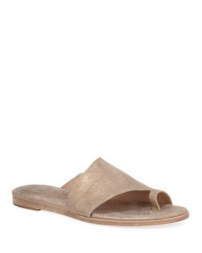 Ty Metallic Leather Flat Sandals