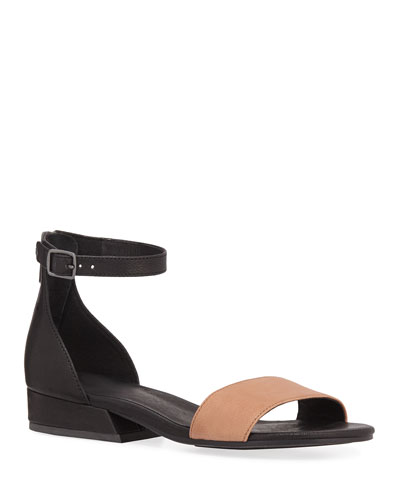 Elie Two-Tone Leather Flat Sandals