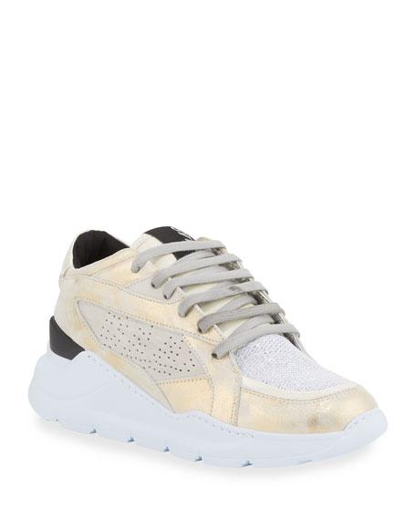 P448 Leia Metallic Wedge Dad Sneakers