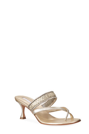 Manolo Blahnik Susa Sequined Metallic Slide Sandals