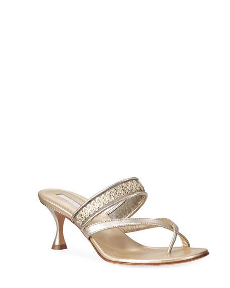 Manolo Blahnik Susa Sequined Metallic Slide Sandals