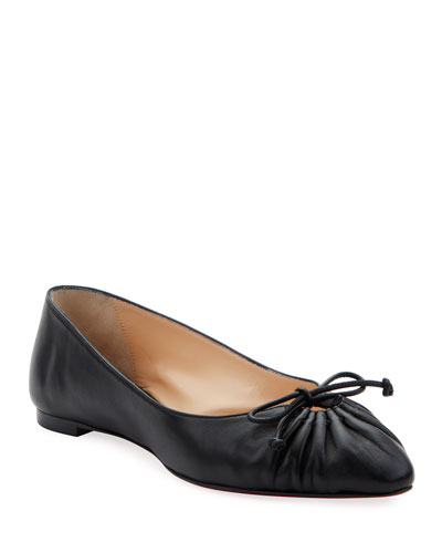 Merimee Red Sole Ballet Flats  Black