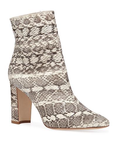990bdf8d523 Manolo Blahnik Rosie Block-Heel Snakeskin Booties