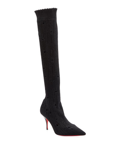 Sandrine Stretch Red Sole Knee Boots