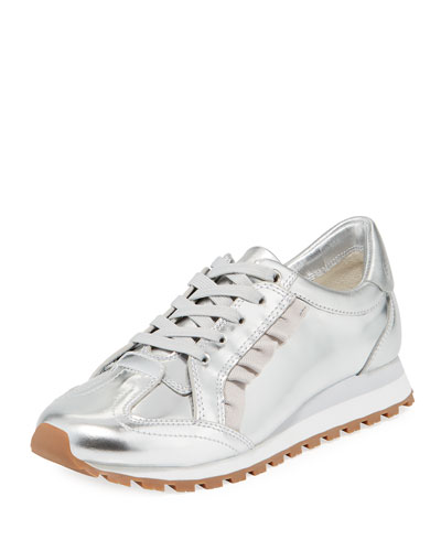 Ruffled Metallic Leather Trainer Sneakers