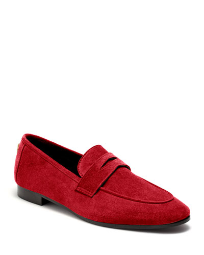 Flaneur Suede Loafers  Scarlet
