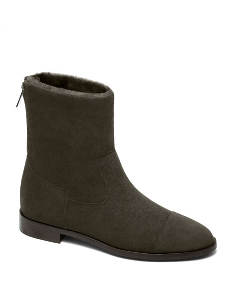 Bougeotte Suede and Shearling Biker Booties, Khaki