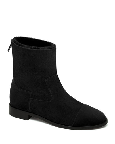Suede and Shearling Biker Booties  Black