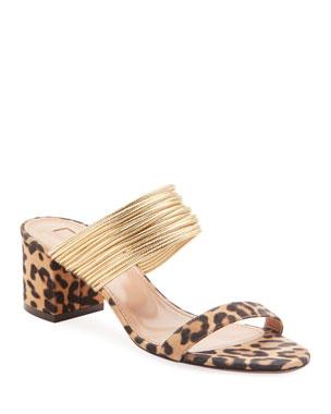 82f08a00f3a Aquazzura Rendez Vou Leopard Jacquard Sandals