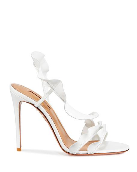 Aquazzura Ruffle Napa Strappy Sandals