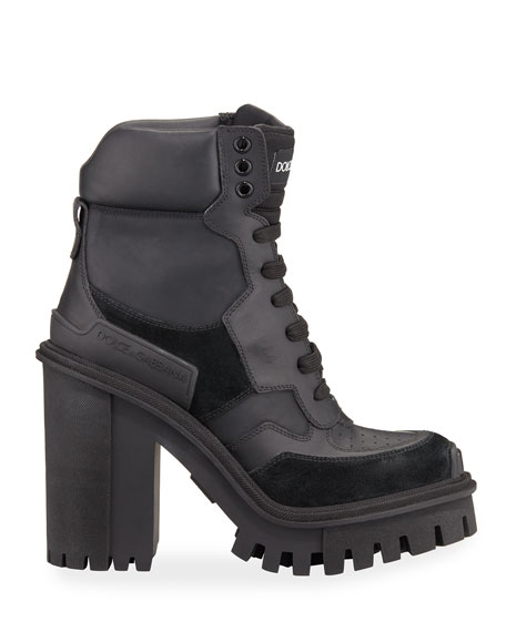 Dolce & Gabbana Leather and Suede Hiker Booties