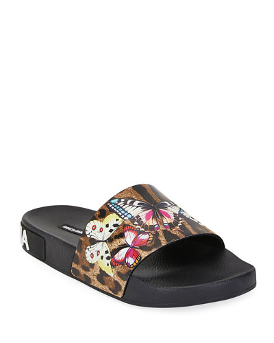 Leopard and Butterfly Slide Pool Sandals