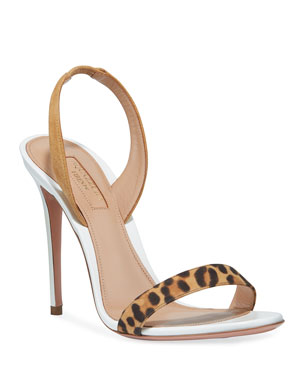 6c50975b924 Aquazzura So Nude Leopard-Strap Slingback Sandals