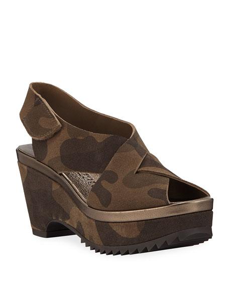Pedro Garcia Fayre Crossover Platform Camo Sandals