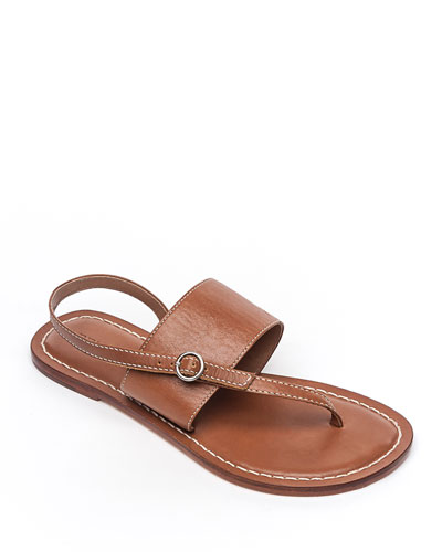 Meg Leather Flat Sandals  Luggage