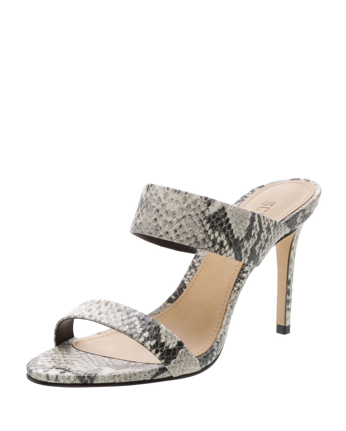 a2f807a53731 Schutz Leia Snake-Embossed Strappy Slide Sandals