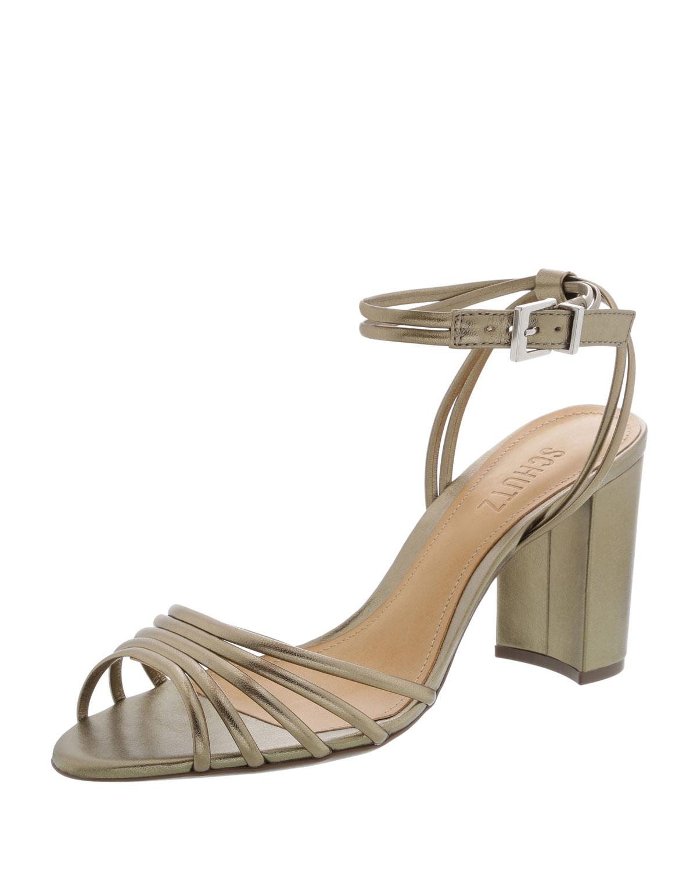1235dc70858 Schutz Strappy Metallic Block-Heel Sandals