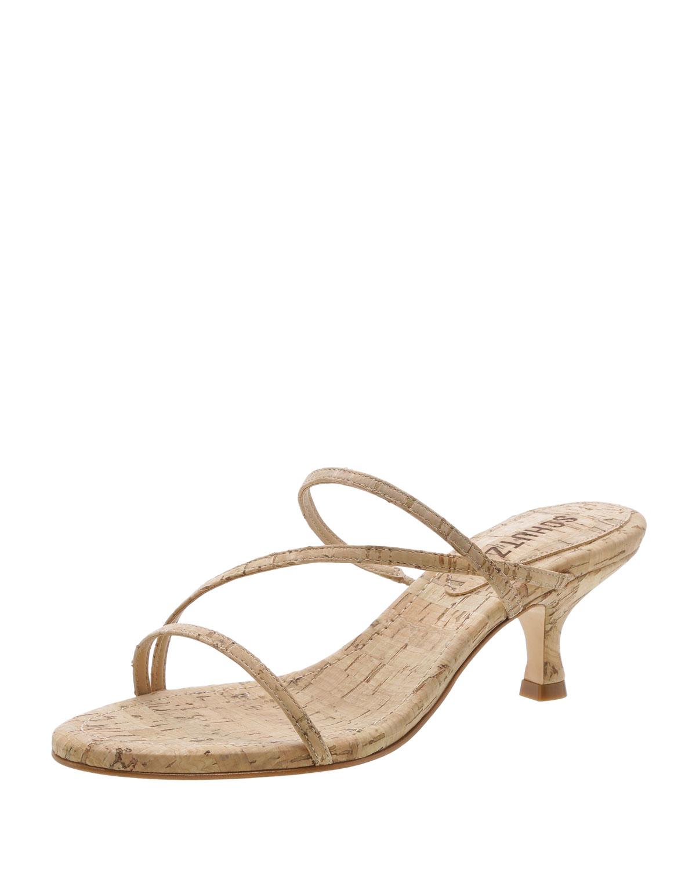 a60a3804f09 Schutz Evenise Strappy Kitten-Heel Cork Sandals